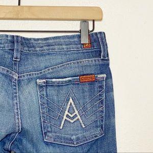 "[7FAM] Medium Wash ""A"" Pocket Bootcut Jeans"